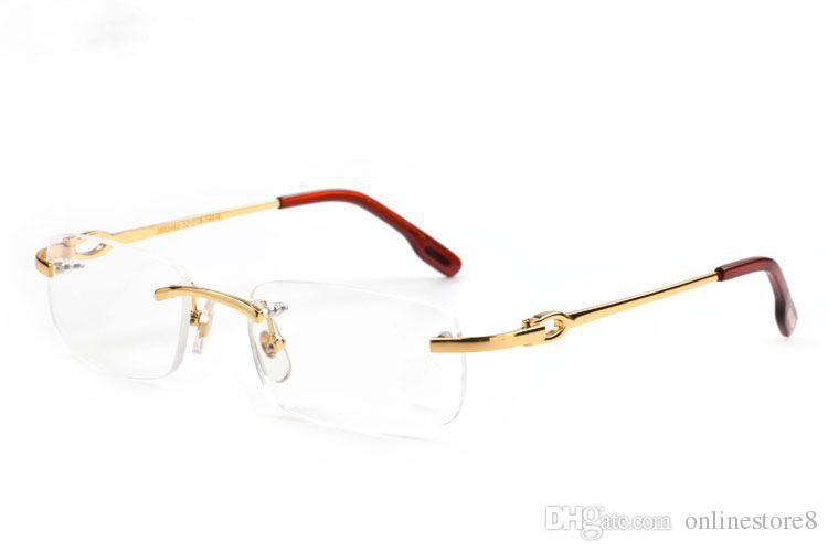 Yeni Moda Erkekler Optik Çerçeve Gözlük Çerçevesiz Altın Metal Manda Boynuzu Gözlük Temizle Lensler Güneş Gözlüğü occhiali lentes Lunette De Soleil
