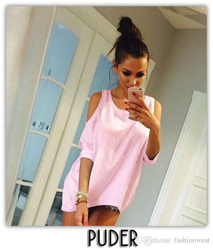 المرأة معطلة الكتف فضفاض قميص أزياء السيدات الصيف عارضة بلوزة الأعلى القميص
