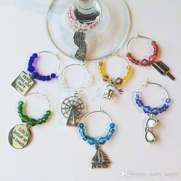 Personalised Wedding Table Decorations Champagne Wine Glass Charms Favours - DIY