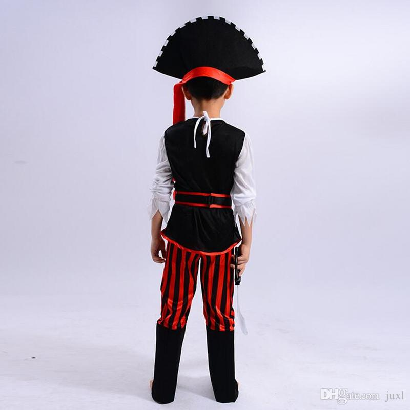 2017 New Boys Girls Pirate Costume Caribbean Pirates Costume Kids Halloween Carnival Costumes Fancy Dress Party Decoration