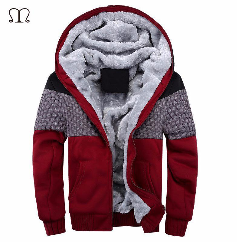 75fcfb795 Wholesale- European Fashion Bomber Mens Vintage Thickening Fleece Jacket  Autumn Winter Designer Famous Brand Male Slim Fit Warm Coat 2016