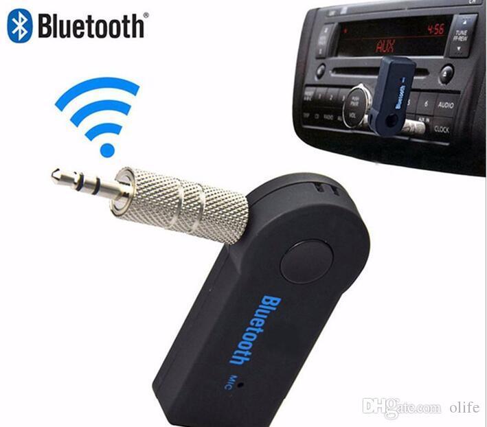 Universal 3.5mm Bluetooth Car Kit A2DP Adaptador de Receptor de Audio AUX Inalámbrico Inalámbrico Manos Libres con Micrófono Para Teléfono MP3 Paquete de Venta al por menor