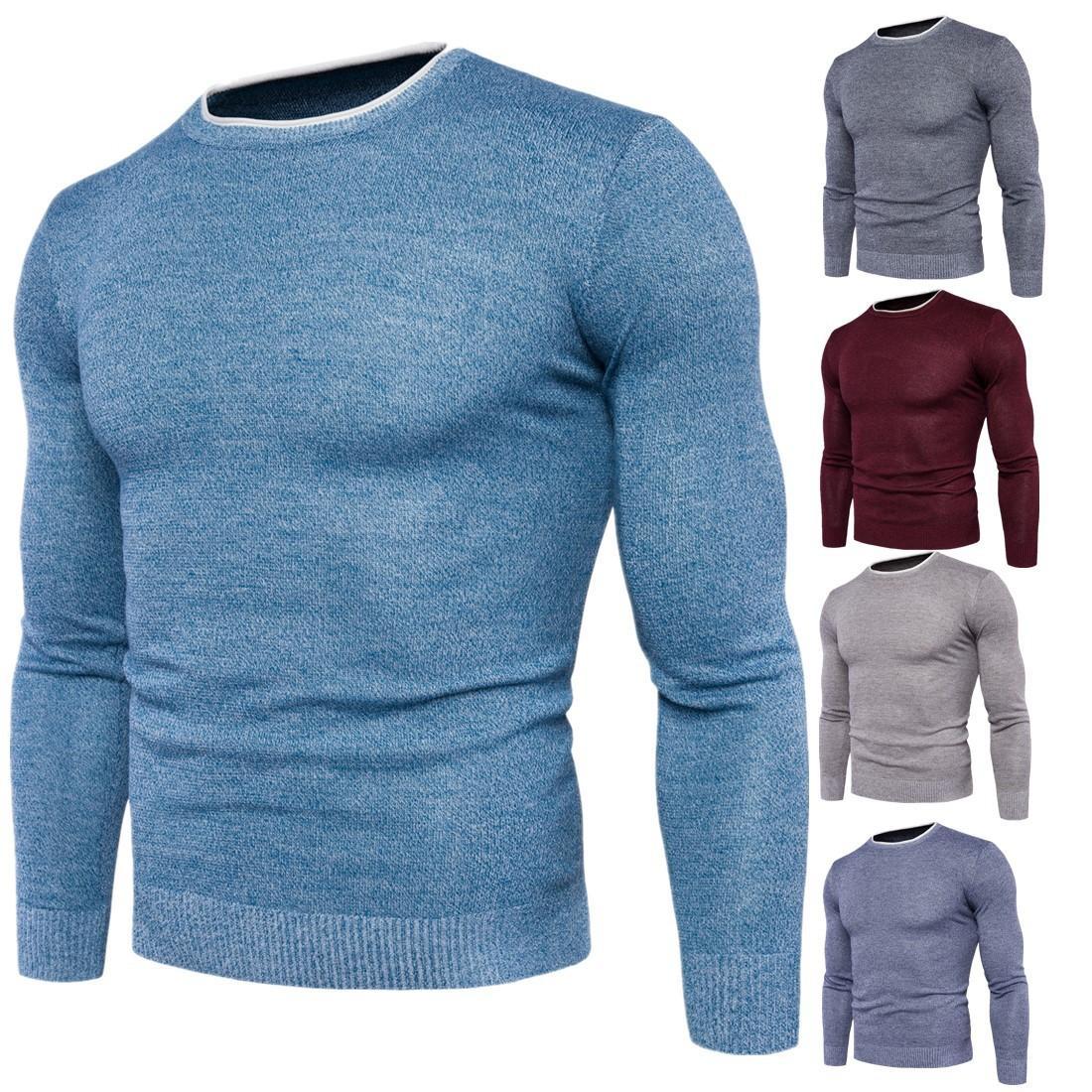 ee5a96c74f3 Winter Knitwear Men Pullover Knitting Fashion Designer Casual Man Knitwear Men  Slim Sweater Solid Warm Multi-color Homme Knitwears T170754 Plus Size Men s  ...