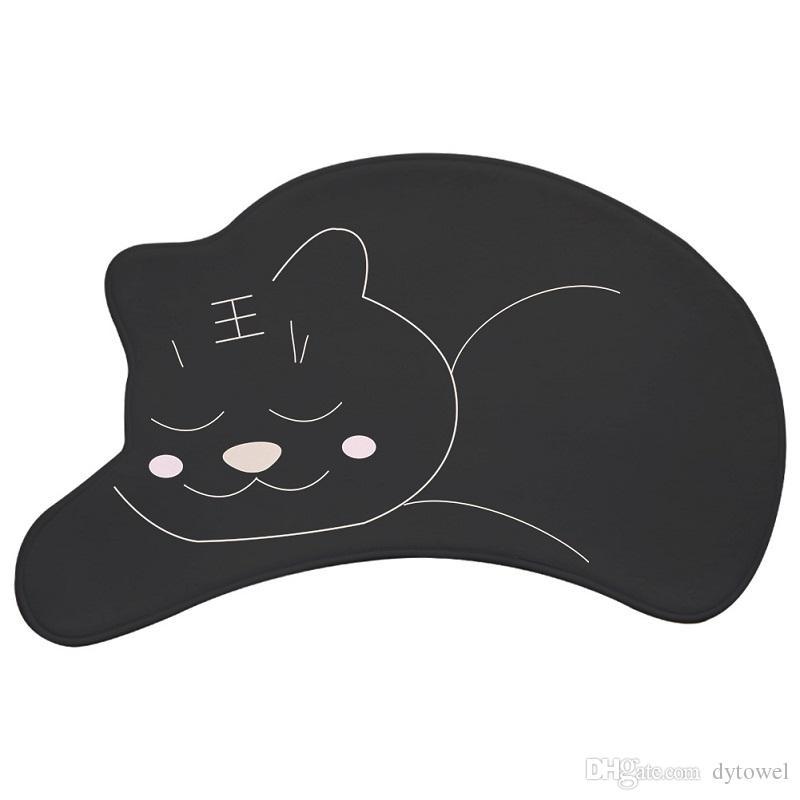 Black Pink Cat Shape Floor Mats Cartoon Doormat Non-slip Hallway Entrance Carpets Pad Bathroom Bath Mat Kitchen Rugs Christmas Gift