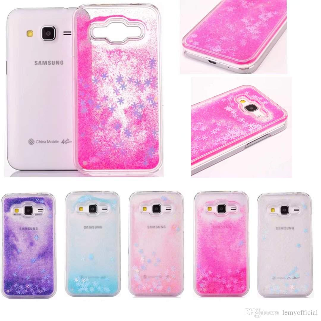 buy popular 7ec85 dce3d For Samsung Core Prime G360 Glitter Bing Snowflake Case Liquid Quicksand PC  Hard Transparent Back Cover for G360