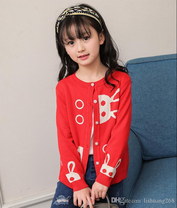 2017 Autumn Winter New Girls Cartoon rabbit Jacquard Sweaters Kid thick warm Cotton Coat Children Clothing Baby Knitted cardigan