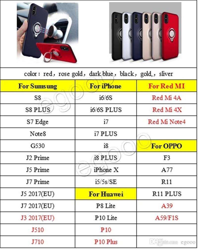 링 SUMSUNG S9 플러스 S8 아이폰 X XS 최대 XR 8 7 6 플러스 홀더 자석 뒤 표지 스탠드 360 하이브리드 아머 케이스 충격 방지 케이스