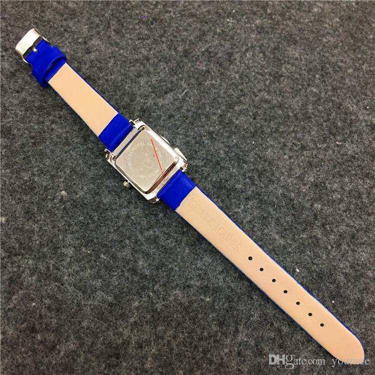 Las mujeres de la esfera cuadrada miran el regalo del reloj del reloj de la señora de la pulsera del cuero genuino para las muchachas El precio al por mayor libera el envío DHL libera