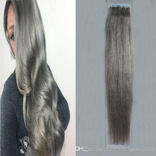 Cheap Sales Tape In Extensions Ash Grey 100g Seamless Skin Weft Hair
