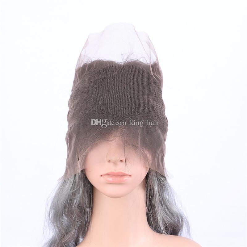 옹 브 바디 웨이브 인간의 머리 360 레이스 밴드 정면 어두운 루트 실버 회색 인간의 머리 360 Pre Plucked Full Lace Band Frontal