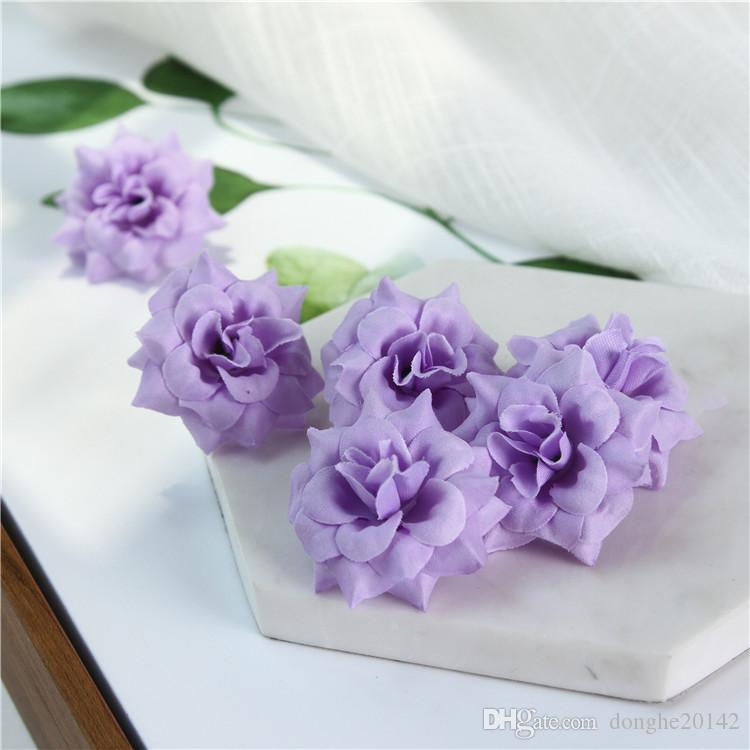 Artificial Flowers Heads Flannel Rose Flower Heads Silk Artificial Flowers Wall For Wedding Decoration Background Wall Golden Rose