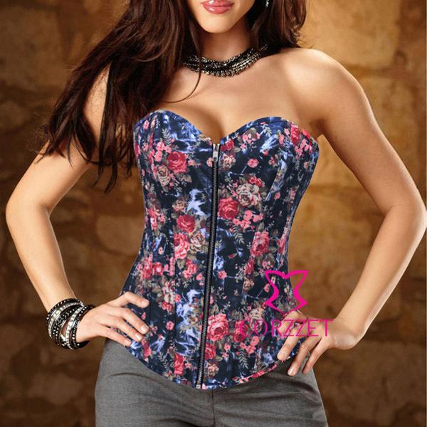 Mulheres Sexy Shapewear Laço Apertado Flores Floral Impressão Preto Látex Espartilho Com Zíper Denim Bustier Colheita Top Sem Alças Corselet S-XXL