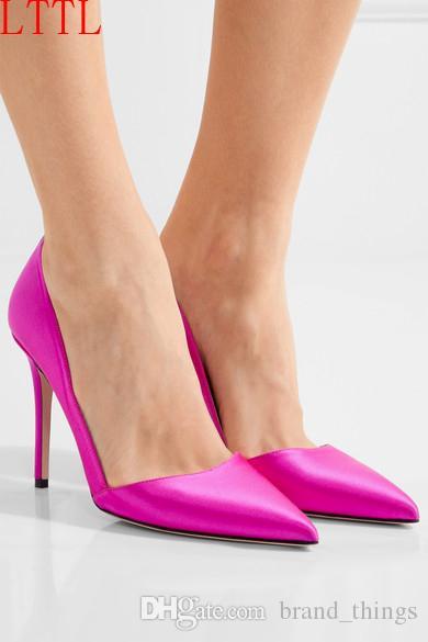 2017 heiße rosa silk pumps kleid schuhe zeigen zehe dünne ferse party schuh 12 cm ferse mode frauen pumps berühmtheit sommer sandalen