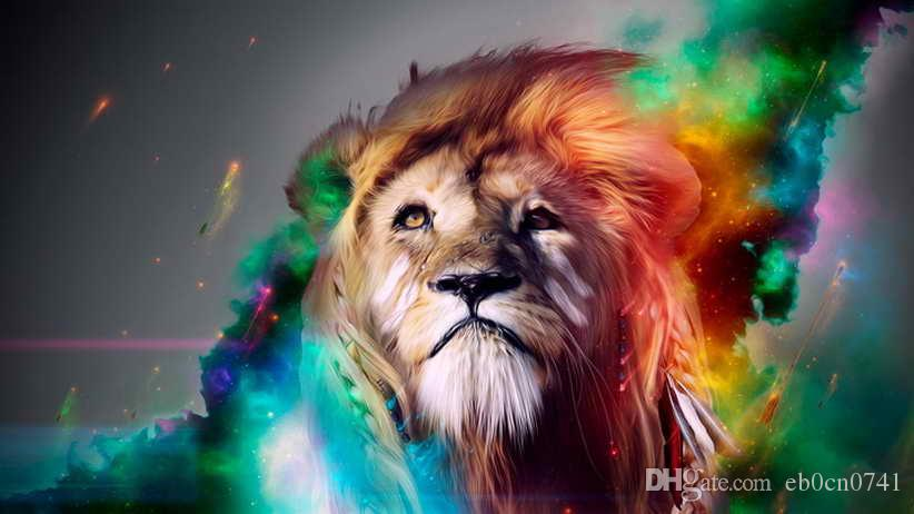 2019 HD Printed Modern Art Wall Decor Colorful Abstract Art Lion Wallpaper Animal Oil Painting Picture On Canvas Home Decorate From Eb0cn0741, ...