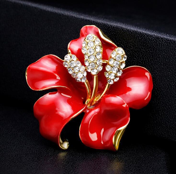라인 석 장미 브로치 크리스탈 백합 꽃 신부 보석 코르사 웨딩 파티 의상 Breastpins 신부 들러리 브 로치 핀