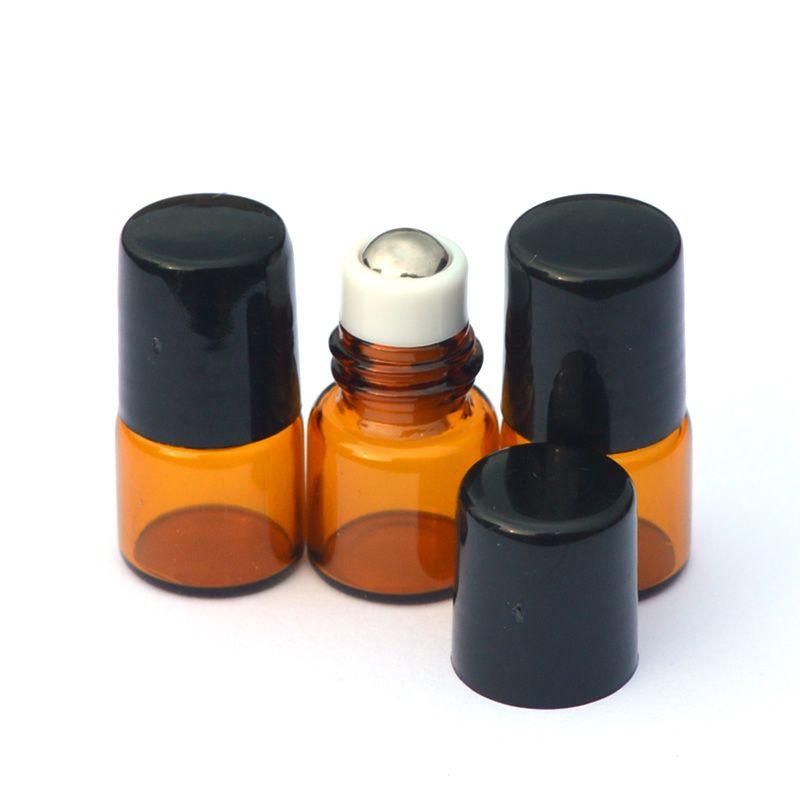 50шт 1 мл Ролл Стеклянная бутылка Эфирное масло Янтарный стеклянный ролик для бутылок на 1 мл флаконах с малым ароматом