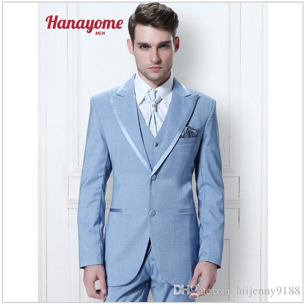 New Brand Suits Light Blue Suit For Male Long Sleeved Suit ...