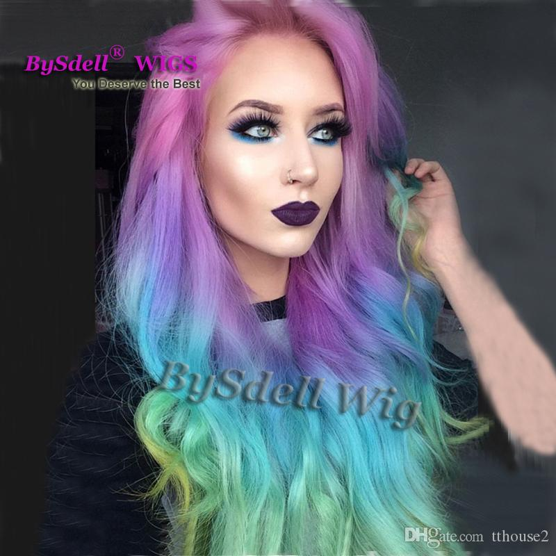 Colored Hair Wigs Synthetic Long Loose Wave Ombre Muti