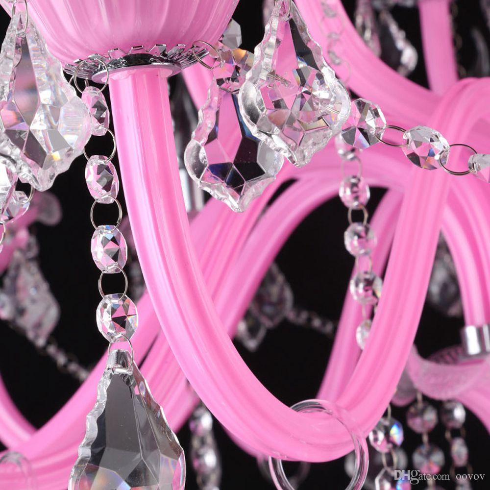 OOVOV Princess Room Crystal Chandelier Dormitorio Sala de estar Sala de Niños Lámparas Colgantes E14 Rosa Blanco