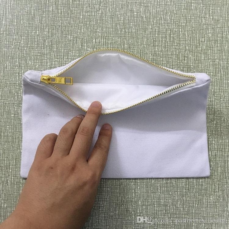 Mariage sac cosmétique en toile de coton naturel sac de rangement cosmétique maquillage blanc sac de voyage pochette cadeau pour les mariées avec fermeture à glissière or