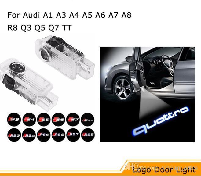 2x LED Porte de voiture Bienvenue Lumière Laser Projecteur Sline Logo Pour Audi A1 A3 A5 A6 A8 A4 B6 B8 C5 80 A7 Q3 Q5 Q7 TT R8 sline
