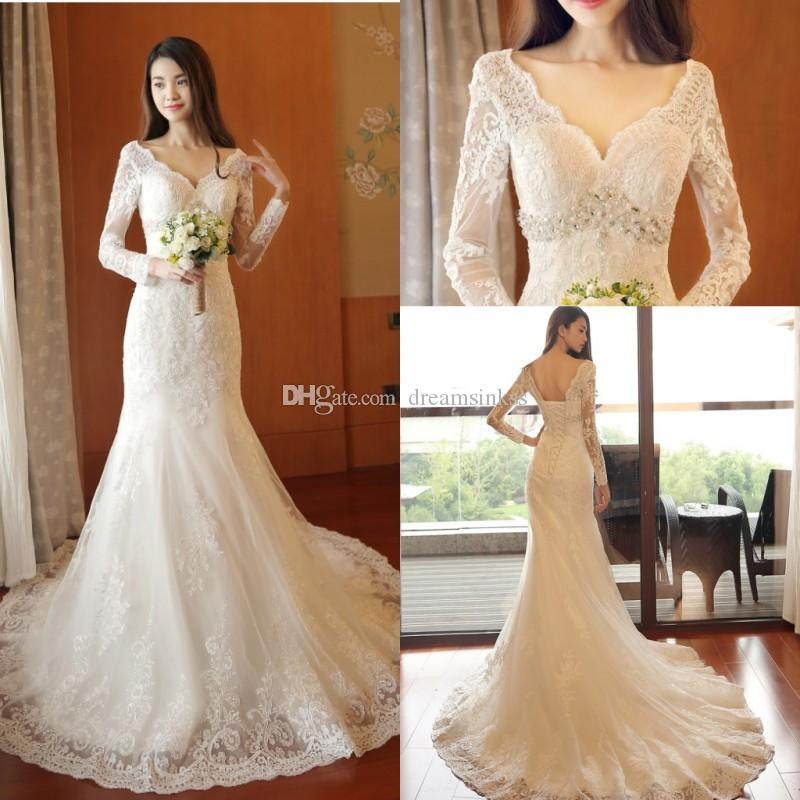 2017 New Vintage Lace Long Sleeves Mermaid Wedding Dresses Arabic V-Neck Beads Lace Appliques Bridal Gowns Backless Lace Up Wedding Dresses