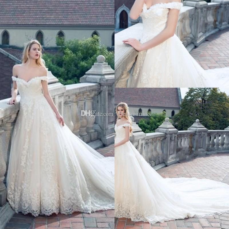 c3d0efb52 2017 Lace Ball Gown Wedding Dresses Off The Shoulder Arabic Plus Size  Wedding Dresses Lace Appliques Backless Lace Up With Free Veil Wedding  Dress Outlet ...