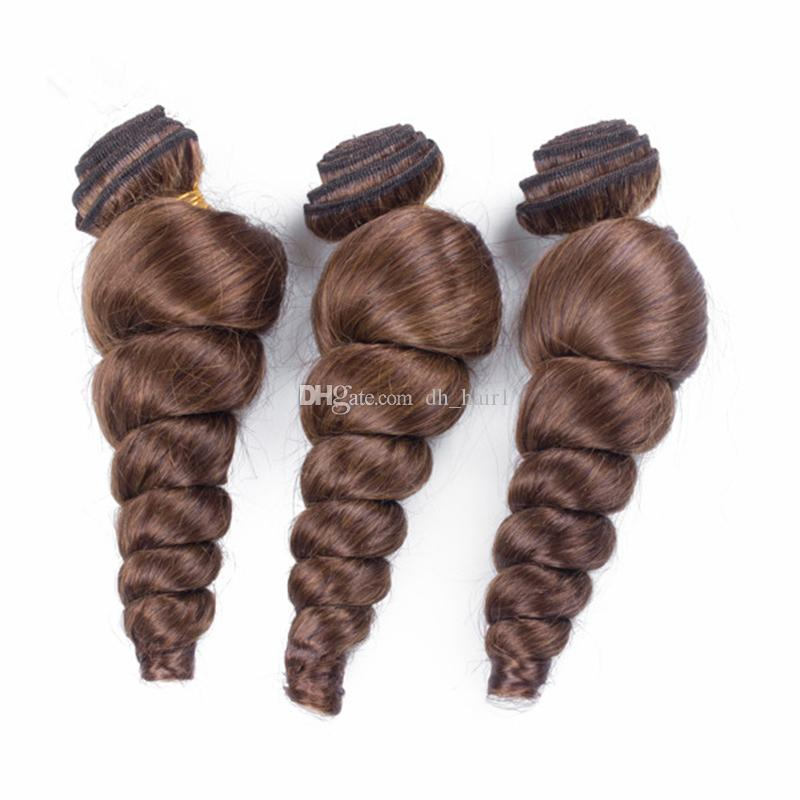Chestnut Brown Lace Closure With Bundles Color #4 Medium Brown Loose Wave Virgin Hair With Middle Part Top Closure Brown Hair