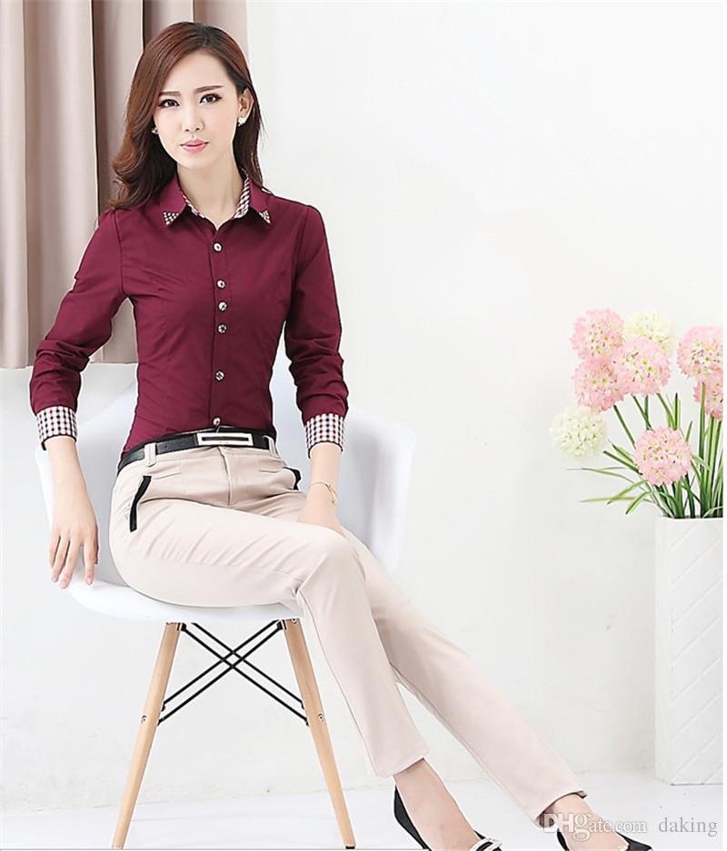 Europa Russia primavera autunno donna Carriera abbigliamento Office camicetta top Camicia manica lunga rosso bianco coreano signora Slim cotone miscela abiti da lavoro formale