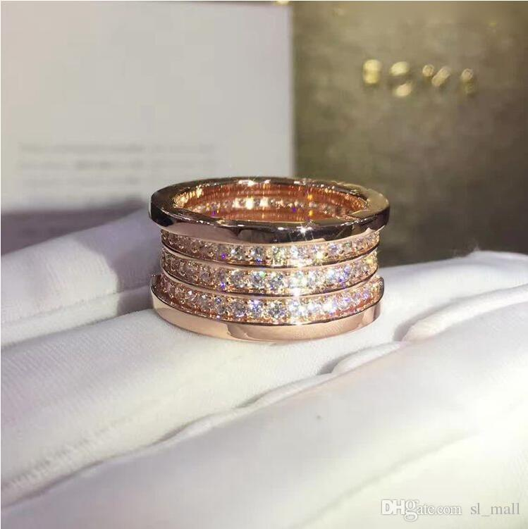 Anneaux élastiques en strass de 3 couches Whorl, or rose / argent métal couleurs femmes / hommes mariage / fiançailles titane acier inoxydable bijoux