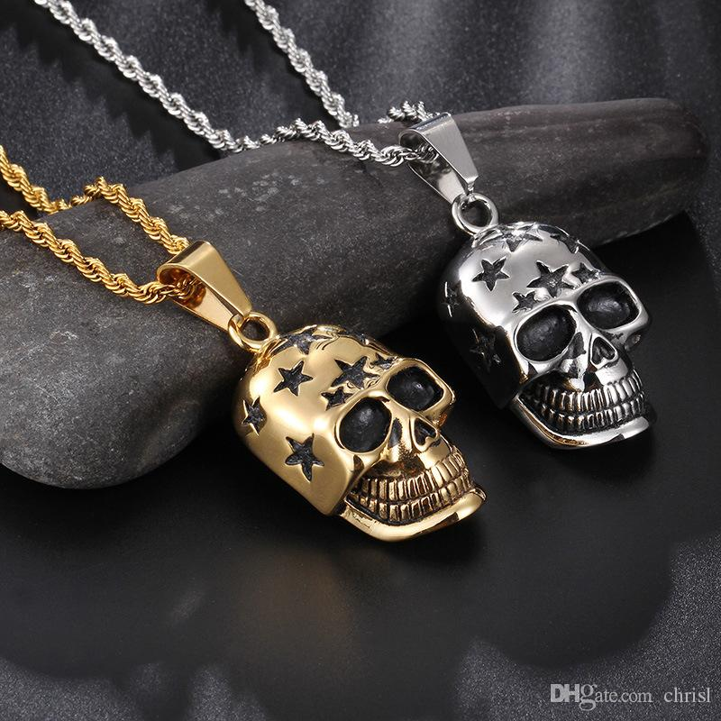 2017 Hot Accessori Collana Catena cranio Testa pendente in acciaio inossidabile 316L Punk Rock Ciondoli collane per uomo