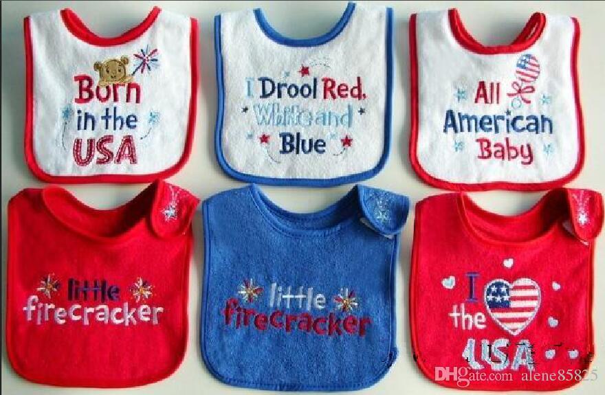 Bebê americano Bordado Toalha de pano bib toalha de algodão à prova d 'água / bebê e crianças saliva toalha babadores para bebês