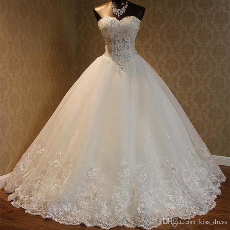 Robe de boules chaudes robes de mariée Extravagant perlé cristal applique blanche ivoire personnalisé sweetherat tulle tulle dentelle princesse robes de mariée w1619