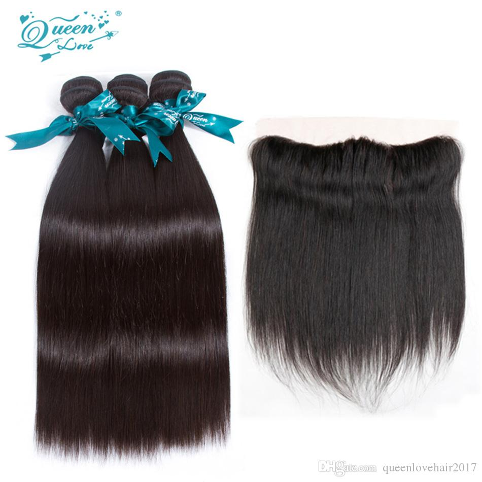 Peruvian Virgin hair 3bundle Hair with Straight 13x4 Ear To Ear Lace Frontal Closure With Bundles 100% Human Hair Sew In Extensions queenlov