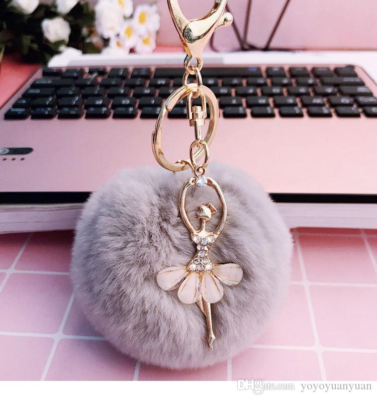 2017 new soft 8CM beaver rabbit hair ball ballet girls key chain ring  children s accessories wholesale