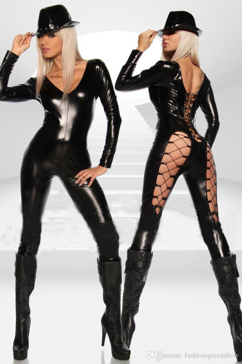 Women Sexy Black Punk Gothic Lace-Up Costume Leg Deep V Neck Catsuit Wet Look Pole Dancing Outfit Exotic Catwoman Cosplay Jumpsuit