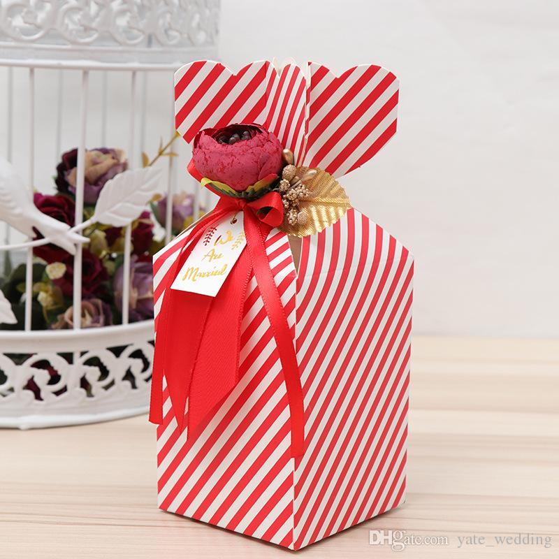 Новейшая ваза русалка свадебные конфеты коробки с пион цветы Рождественская вечеринка свадьба одобрения коробки бумажные коробки подарки красные розовые фиолетовые синие полосы