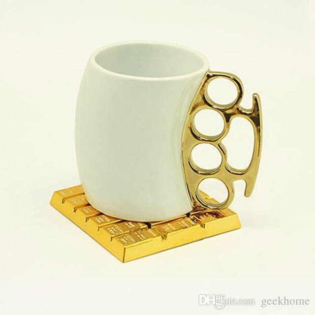 حار بيع جديد وصول 10 قطع فاخرة الذهب الطوب كوستر محاكاة الذهب الطوب كوب حصيرة القهوة مشروب تحديد الموقع الجدول المائدة الجدول المشروبات كوستر