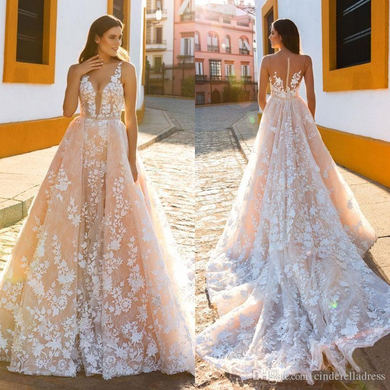 23b5c39b67 Sexy A Line Blush Wedding Dresses With Detachable Train 2018 Crystal Desing  Sheer Plunging Neckline Lace Appliqued Plus Size Bridal Gowns 2018 Wedding  ...