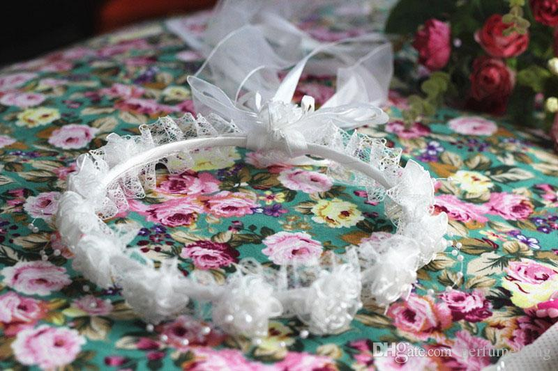 Girl Veils Beautiful Pearls Lace Flowers Garland Children Hair Accessories For Birthday Party Cute Headband With Ribbons ZA3040