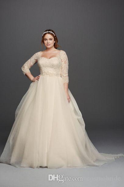 Discount 2017 Plus Size Wedding Dresses Lace 3/4 Long Sleeve Scoop ...