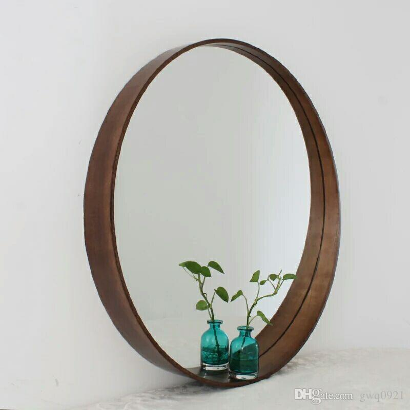 Black Solid Wooden Toilet Wall And Round Mirror Package Postal Home Bathroom Simple Oval Hanging Makeup Large White Mirrors