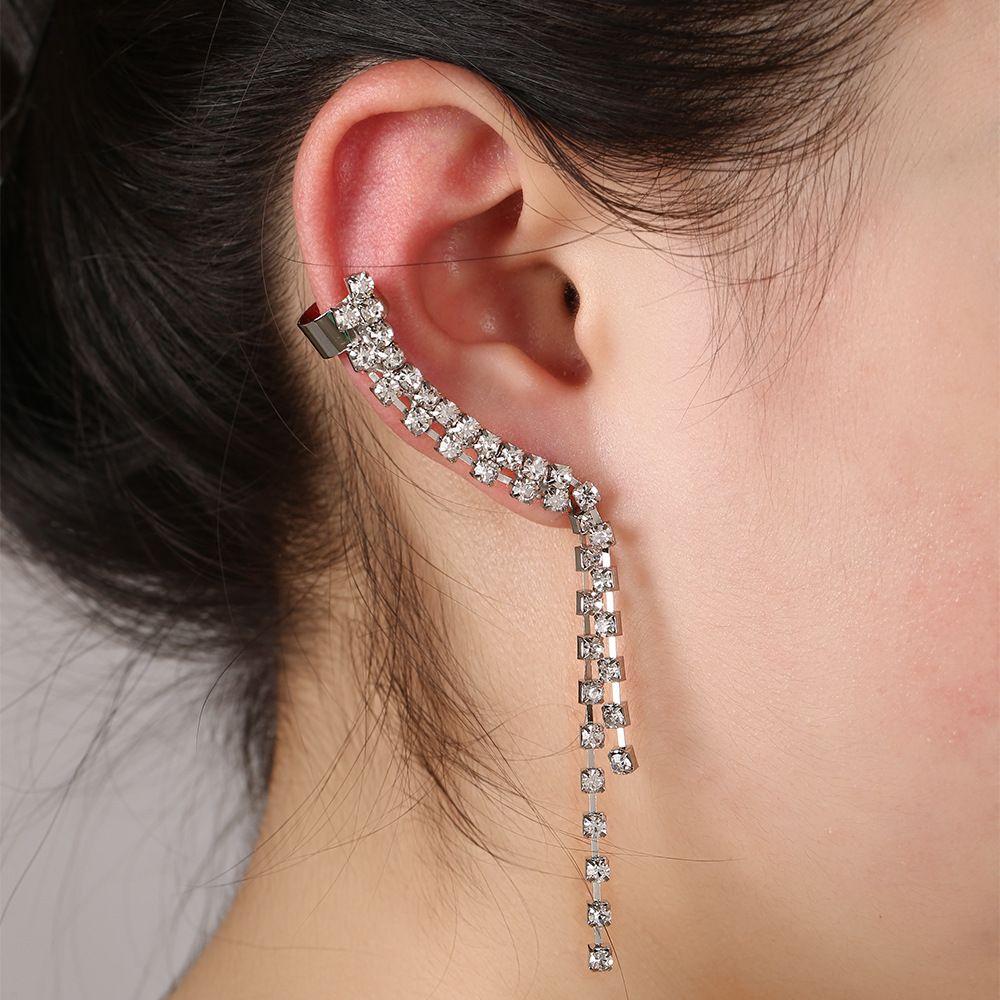 1 adet Moda Püskül Kulak Manşet Küpe Takı Tam Rhinestone Kristal Link Zinciri Püsküller Klip Küpe Kadınlar Düğün Hediyeleri