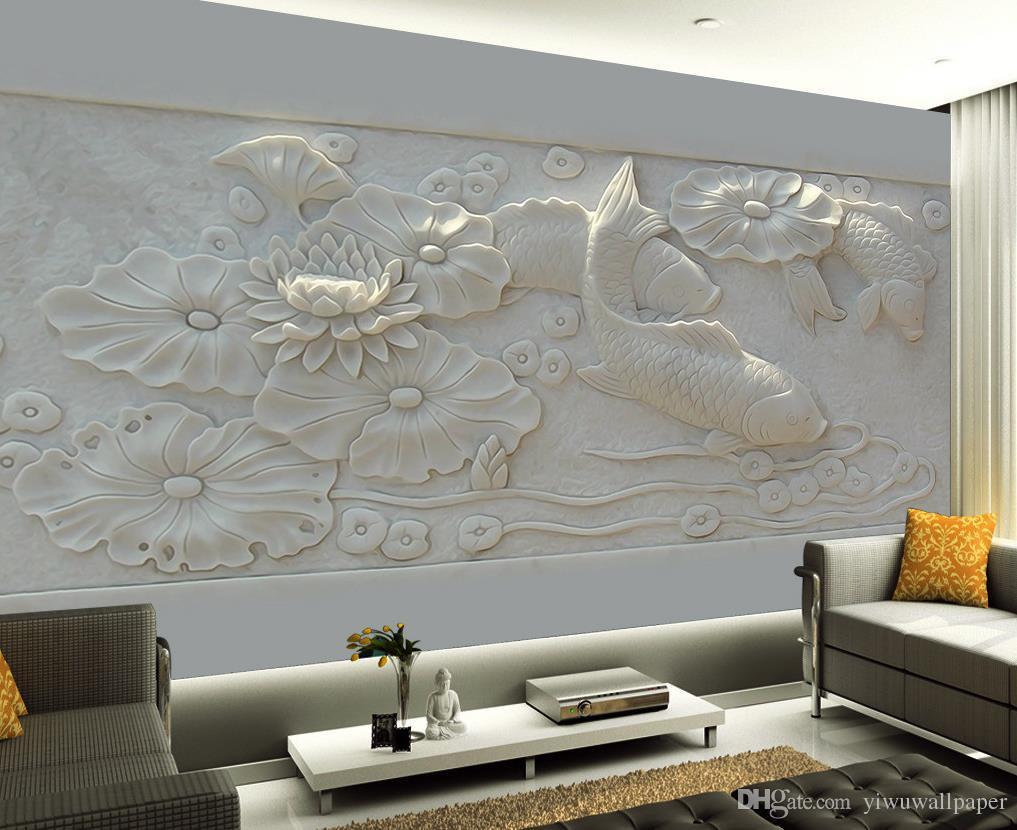 Luxus Europäische Moderne Geprägte dreidimensionaler Teich pondbild Wandhintergrundbild für die Wände 3 d für Wohnzimmer