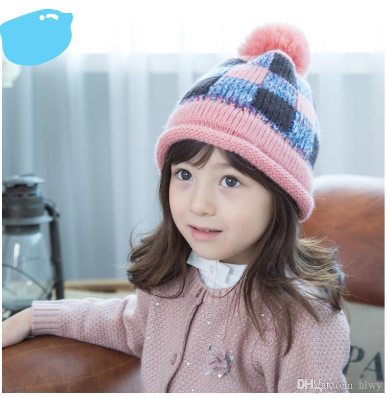 Lemonkid Hot Sale Boy Girl Unisex Kids Hat Cute Winter Baby Hat personality Earflap Knit Cap Korea suit for 1-4T kids