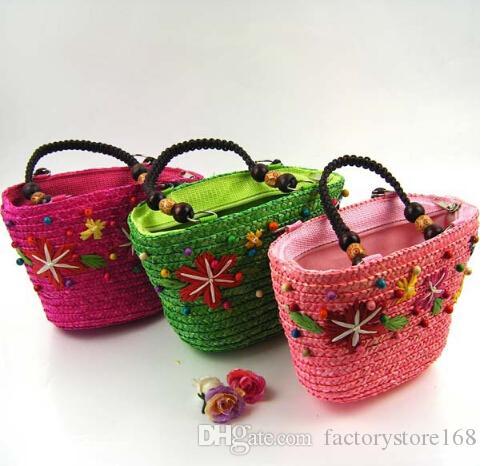 Japón y estilo coreano bolsas de paja tejidas patrón de estrellas hombro bolsos abalorios bolsas de playa con cremallera
