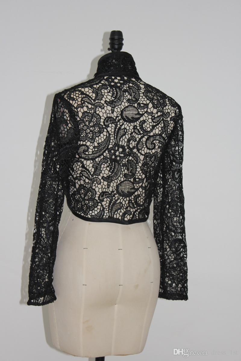2017 Black Lace Long Sleeve Bridal Bolero Jacket For Vintage Gothic Wedding Dress Cheap High Collar Mini Coat Custom Made EN10184