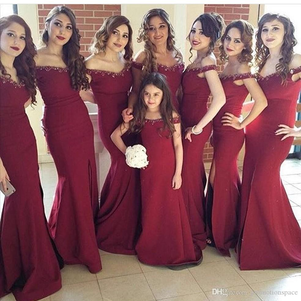 Off the Shoulder Sweetheart Burgundy Side Slits Mermaid Bridesmaid Dress Custom Made Plus Size African Party Gowns Wedding Guest Dresses