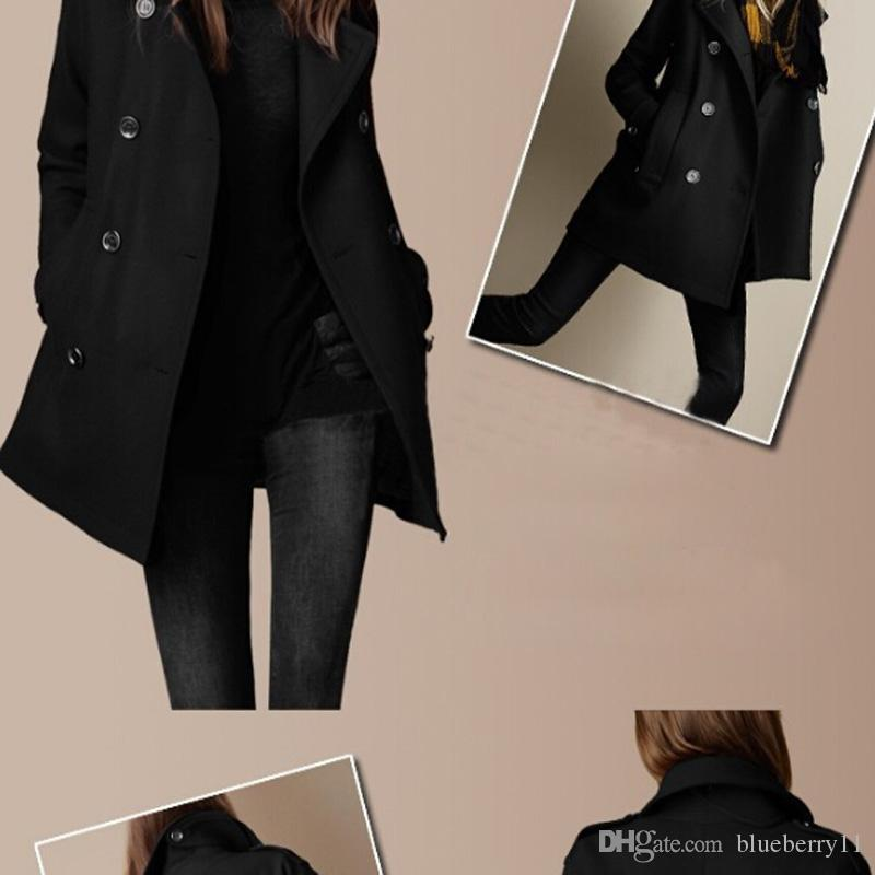 Il nuovo stile di autunno di stile allentato lo stile allentato delle donne della tuta sportiva doppiopetto della lana solida di stile libera il trasporto