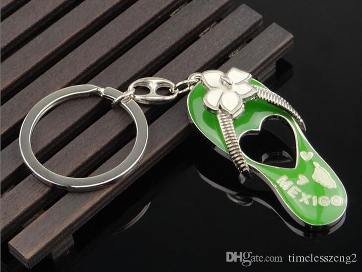 Multi couleur flip flops porte-clés Distributeurs de colle métal porte-clés Creative Mexique souvenir petits cadeaux